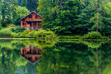 Red house on the lake