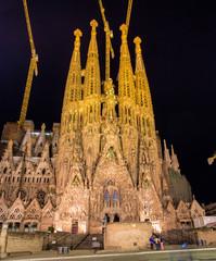 Night view of Sagrada Familia church in Barcelona