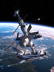 Fotobehang - Space Shuttle Docking With Space Station