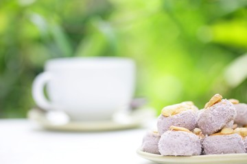 taro cookie and cashew nut and coffee