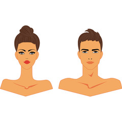 Head to Shoulders Nude Male and Female  Avatars, Vector