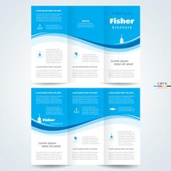 brochure design template vector trifold fisher, cmyk profile
