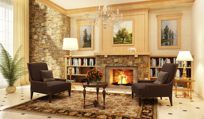 Fireplace room in a beautiful house