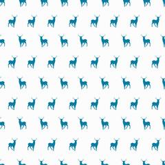 Vector minimalistic winter blue deer seamless pattern