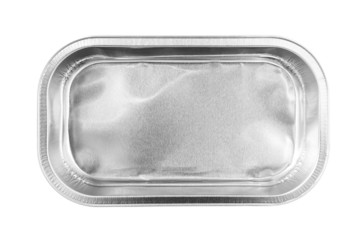 Rectangular Aluminum Foil Tray top view isolated on white backgr