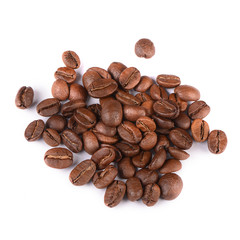 The coffee beans isolated on white
