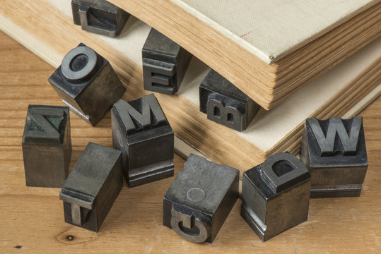 Old lead ink printing type from a book printing company.