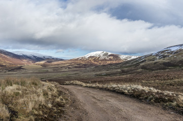 Landscape view of snow capped Scottish mountains