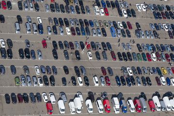 Aerial view of parking cars