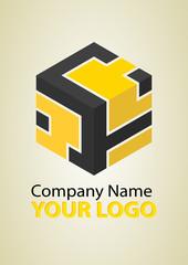 Abstract yellow logo cube