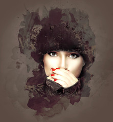 Winter Fashion Woman on Abstract Background