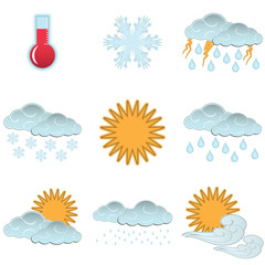 Day weather colour icons set isolated on white background