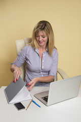Secretary working at her desk