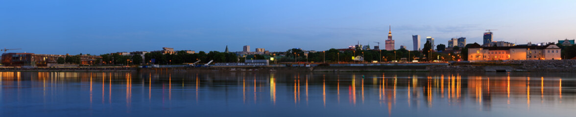 Panorama of Warsaw at dusk