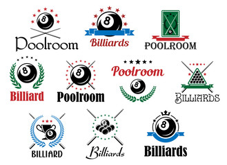 Billiard game emblems and symbols set