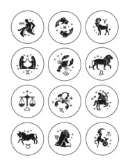 Zodiac signs vector outline icon set