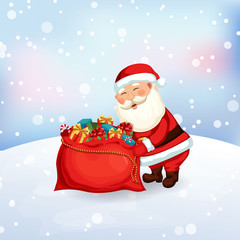 Santa Claus packing a bag of gifts
