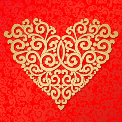 Valentines day, heart of gold red background.