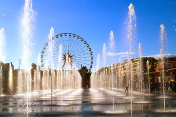 View of the water jets in the city of Nice