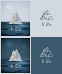 vector low-poly iceberg. poster and logo design. hipster stile