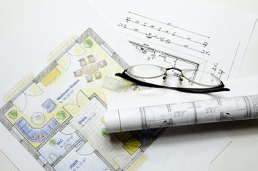 Grundrisse mit Brille