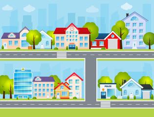 Flat Town Illustration