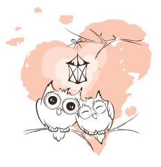 Valentine card - love owls