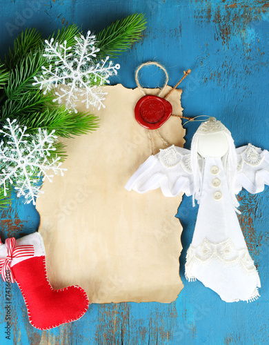 Handmade Christmas Decorations And Old Paper Sheet Stock