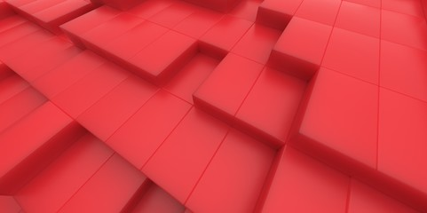 Abstract red background of 3d blocks