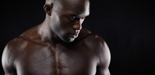 Shirtless african male model