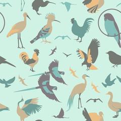 Birds seamless pattern. Vector flat style