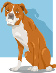 Tuinposter Honden boxer dog cartoon illustration