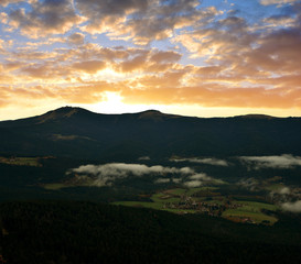Sunset over the Bavarian Forest National Park