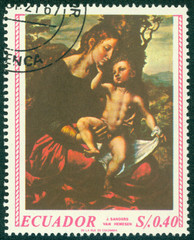stamp shows Madonna painted by Jan van Hemessen