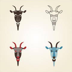 Vector image set of goat head on white background. New Year 2015