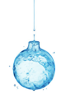 Christmas ball from water splash isolated on white