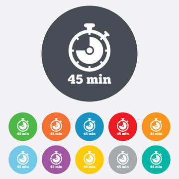 Timer sign icon. 45 minutes stopwatch symbol.