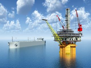 Supertanker and Oil Platform