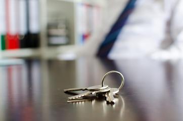 House keys on a table