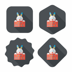 Happy birthday rabbit card flat icon with long shadow,eps10