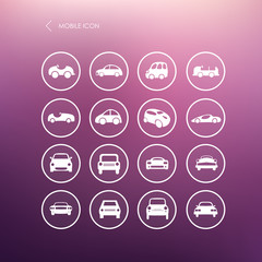 Cars mobile icons set different vector car forms.
