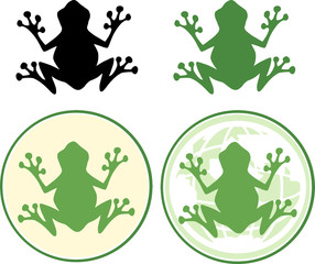 Frog Silhouette Design. Collection Set
