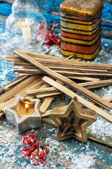 ornaments Christmas and wooden splinters