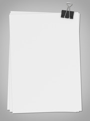 Illustration of white blank paer with clip