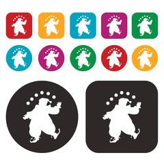 acrobatic clown icon / circus icon