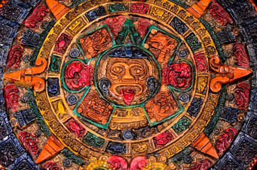 Typical Colored Clay Maya Calendar