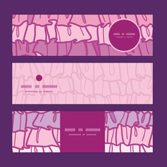 Vector pink ruffle fabric stripes horizontal banners set pattern