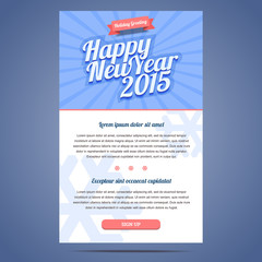 happy new year holiday greeting email template in flat style