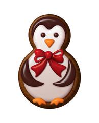 penguin illustration, Christmas gingerbread cookie