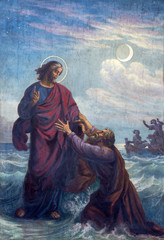 Vienna -  Fresco of Drowned Peter and Jesus
